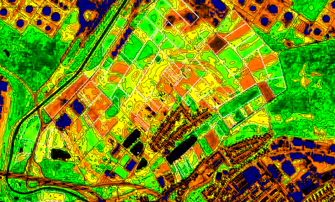 NDVI from satellite data , OpenStreetmap, agricultural field boundaries
